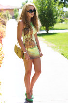 lime green Motel Rocks dress - chartreuse Swiat butw impess shoes