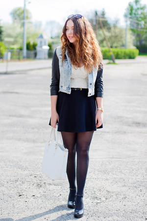 light blue Zara jacket - black Melissa shoes - white etorba bag