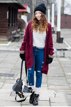 brick red romwe cardigan - black Papilion boots - blue Sheinside jeans