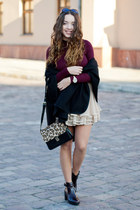 beige Sheinside skirt - crimson Zara boots - black Sheinside bag