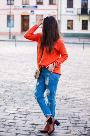 carrot orange sammydress sweater - tawny deezee boots - blue TB Dress jeans