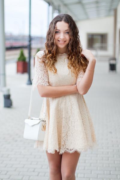 Cream Chicwish Dresses, Light Brown Romwe Boots, Cream Chicwish ...