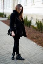 black H&M shoes - black no name coat - black romwe bag - white H&M top