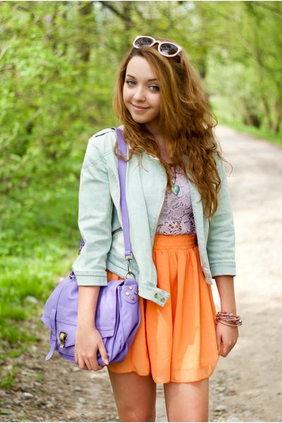 light orange OASAP skirt - camel CzasNaButy shoes - light blue Sinsay jacket