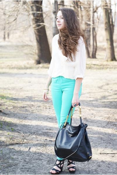 aquamarine Vero Moda pants - black Prada bag - black Papilion wedges