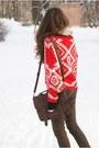 Beige-aukoala-boots-red-romwe-sweater-beige-h-m-scarf