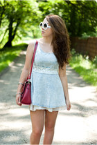 heather gray romwe ring - ivory SheLikes shoes - light blue Sheinside dress