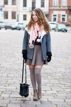 tan romwe boots - heather gray 6ks jacket - light pink Choies scarf