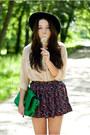 Black-pull-pear-shoes-black-oasap-hat-green-sammydress-bag