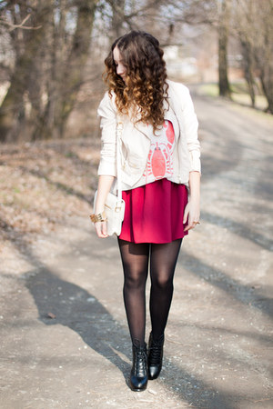 ivory OASAP sweater - black PERSUNMALL shoes - black H&M tights