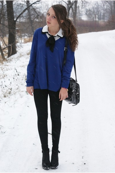 ivory VJ Style blouse - black c&a jacket - navy SH sweater - black H&M leggings