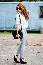 black PERSUNMALL shoes - black romwe bag - black allegro sunglasses