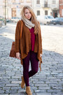Brown-romwe-sweater-bronze-papilion-shoes-magenta-h-m-leggings