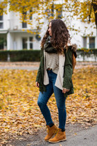 tawny Timberland boots - dark green Sheinside coat - navy Zara jeans