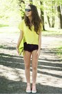Magenta-diy-shorts-lime-green-alex-bags-purses-bag-light-yellow-h-m-blouse