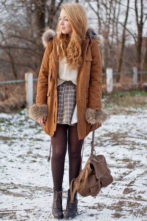 brown Sheinside coat - dark brown CzasNaButy boots - beige romwe sweater