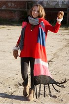 H&M scarf - Emu boots - romwe sweater - HereJ leggings