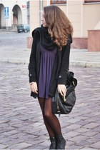 black Czas na buty boots - purple felicee dress - black New Yorker coat