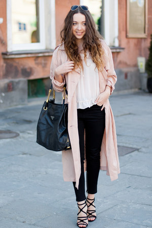 black Zara shoes - light pink Front Row Shop coat - neutral romwe shirt