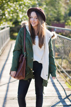 brown Tommy Hilfiger boots - dark brown OASAP hat - olive green Sheinside jacket