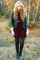 black Czas na buty boots - maroon Madam Rage dress - black Sheinside jacket