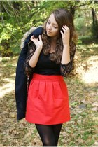 red romwe skirt - black Style Up boots - navy VJ Style coat