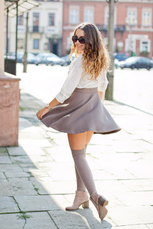 light purple Bershka boots - white no name shirt - white PERSUNMALL bag