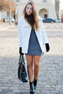 Black-romwe-boots-gray-ax-paris-dress-white-the-wild-flower-shop-coat