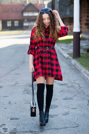 black Chicwish boots - ruby red Sheinside dress - black Dressve bag