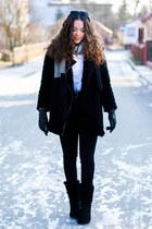 black Noos icon boots - black Choies coat - black Rose Gal scarf