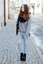 black Chicwish boots - heather gray H&M sweater - black OASAP scarf