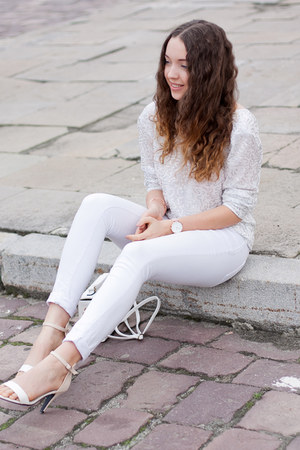white PERSUNMALL bag - white pieces pants - white She Likes sandals