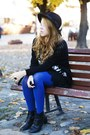 Black-czas-na-buty-boots-black-oasap-hat-black-sheinside-sweater