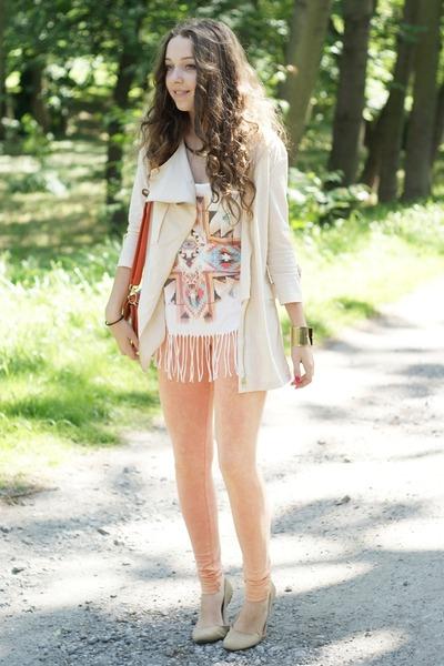 beige romwe jacket - peach romwe leggings