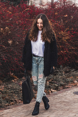 black Sheinside jacket - light blue OASAP jeans - black Medicine bag