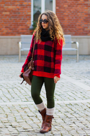 ruby red Sheinside sweater - brown Tommy Hilfiger boots - black Iloko scarf