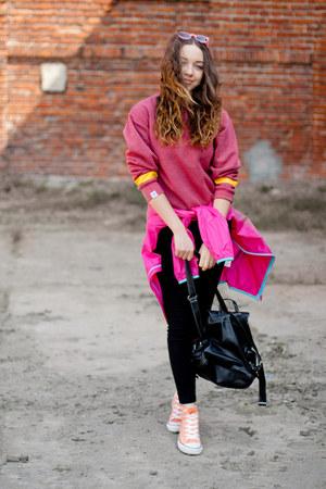 black Chicwish bag - peach Converse shoes - hot pink Puma jacket