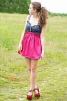 ruby red Sheinside heels - ruby red Sheinside bag - hot pink romwe skirt