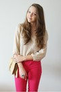 Beige-romwe-sweater-tan-oasap-bag-gold-vj-style-ring