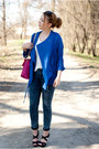 Blue-romwe-coat-black-pimkie-shoes-hot-pink-choies-bag