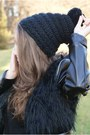 Black-romwe-coat-brown-papilion-boots-black-reserved-hat-black-h-m-shorts