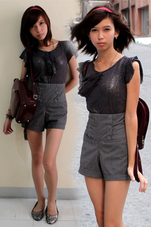 silver Ever Gotesco Department Store top - gray St Francis Square Tiangge shorts