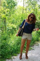 brown Nine West shoes - blue Forever 21 shirt - brown Urban Outfitters shorts