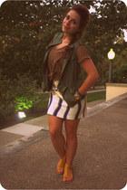 eggshell Old Navy skirt - brown Julies Closet shirt - army green justice vest