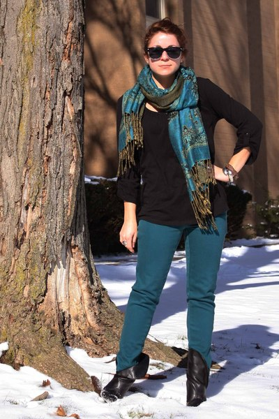 blue Metropark scarf - black Old Navy shirt - black Urban Outfitters sunglasses