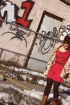 pink lucky dress - brown Gap sweater - brown vintage Sereta purse