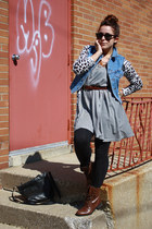 gray striped hm dress - dark brown combat Forever 21 boots