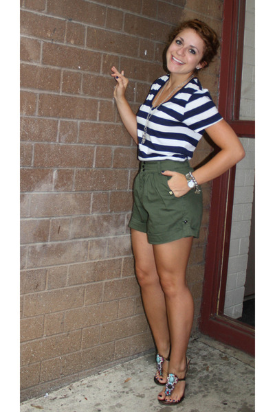 green Urban Outfitters shorts - blue shirt - brown shoes