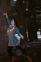 blue Gap cardigan - brown Old Navy dress - orange Wet Seal scarf