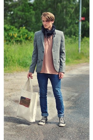 Converse shoes - navy Cheap Monday jeans - gray Blck blazer - black Blck scarf